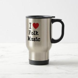 I love Folk Music heart custom personalized Mugs