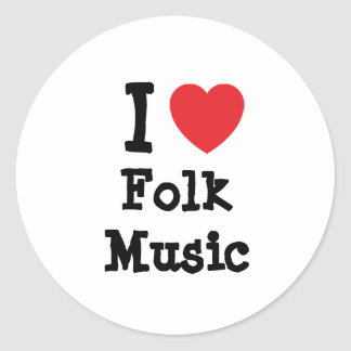 I love Folk Music heart custom personalized Stickers