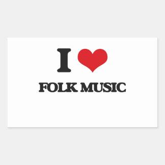 i LOVE fOLK mUSIC Rectangle Stickers