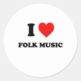 I Love Folk Music Round Sticker