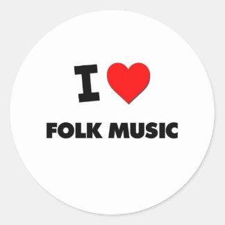 I Love Folk Music Round Stickers