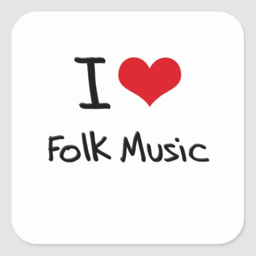I Love Folk Music Square Stickers