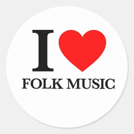 I Love Folk Music Sticker