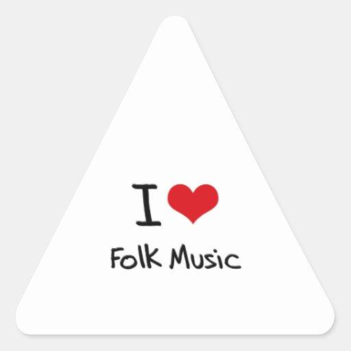 I Love Folk Music Triangle Stickers