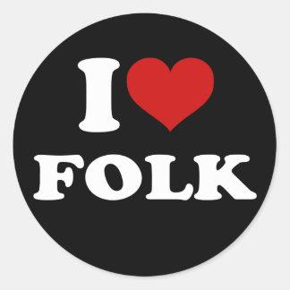 I Love Folk Round Sticker