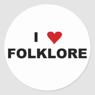 I Love Folklore Circle Sticker