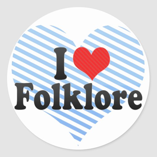I Love Folklore Round Stickers