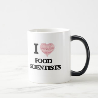 I love Food Scientists (Heart made from words) Morphing Mug