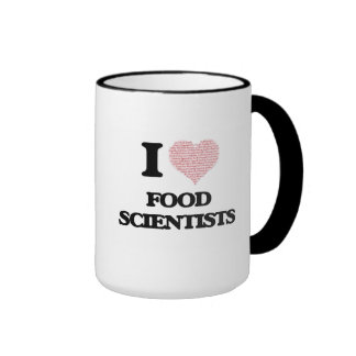 I love Food Scientists (Heart made from words) Ringer Mug