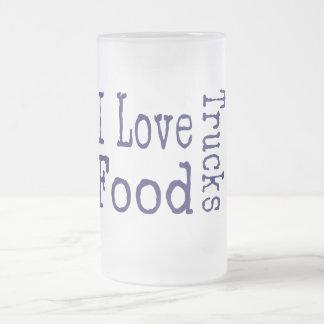 I love food trucks block frosted glass mug