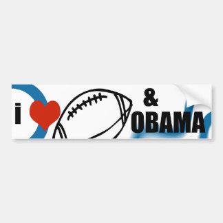 i love football and obama car bumper sticker