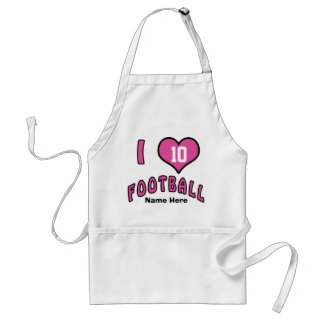 I Love Football Apron for Women with Jersey NUMBER