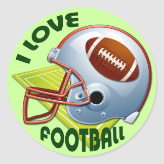 I LOVE FOOTBALL CLASSIC ROUND STICKER