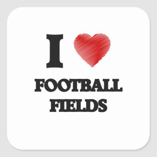 I love Football Fields Square Sticker