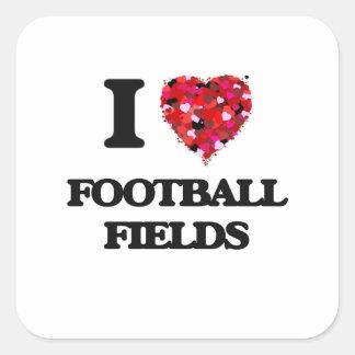 I Love Football Fields Square Sticker