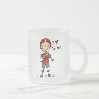 I Love Football Frosted Glass Coffee Mug