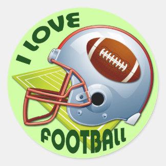 I LOVE FOOTBALL ROUND STICKER