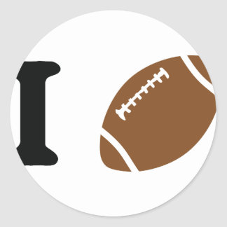 i love football round sticker