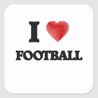 I love Football Square Sticker