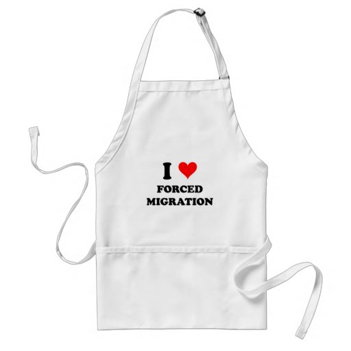 I Love Forced Migration Aprons