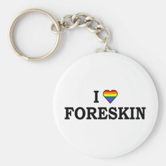 I Love Foreskin Basic Round Button Key Ring