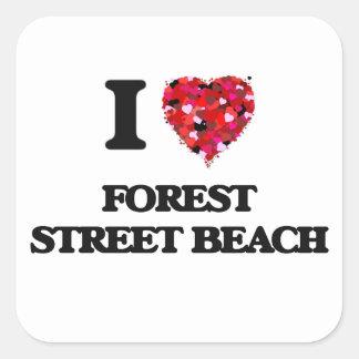 I love Forest Street Beach Massachusetts Square Sticker