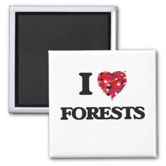 I Love Forests Square Magnet