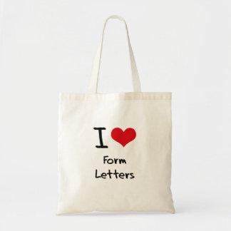 I Love Form Letters Budget Tote Bag