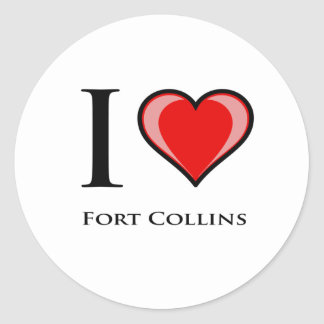 I Love Fort Collins Round Stickers
