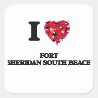 I love Fort Sheridan South Beach Illinois Square Sticker
