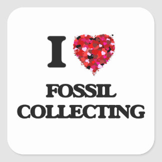 I Love Fossil Collecting Square Sticker