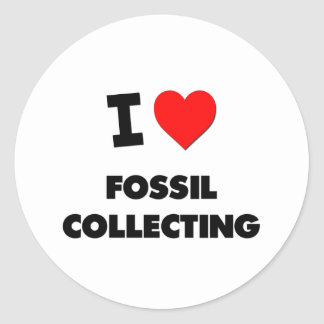 I Love Fossil Collecting Round Stickers