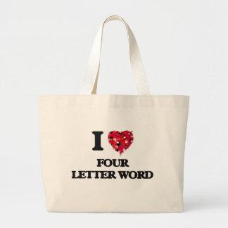 I Love Four Letter Word Jumbo Tote Bag