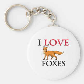 I Love Foxes Basic Round Button Key Ring