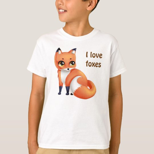 I love foxes Cute Kawaii cartoon fox T-Shirt