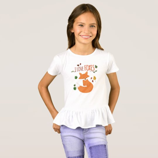 I love FOXES Girls' Ruffle T-Shirt