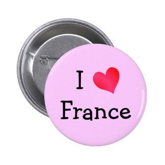 I Love France 6 Cm Round Badge