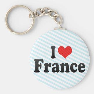 I Love France Basic Round Button Key Ring