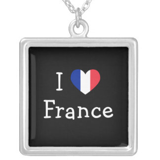 I Love France Silver Plated Necklace