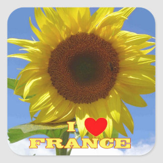 I Love France Sunflowers Square Sticker