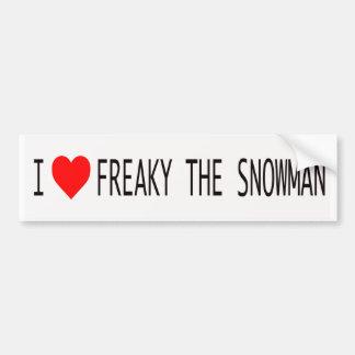 I Love Freaky The Snowman Bumper Sticker