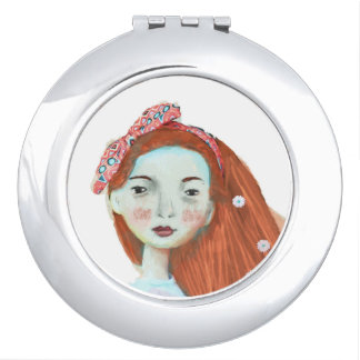 I love Freckles compact mirror red head girl