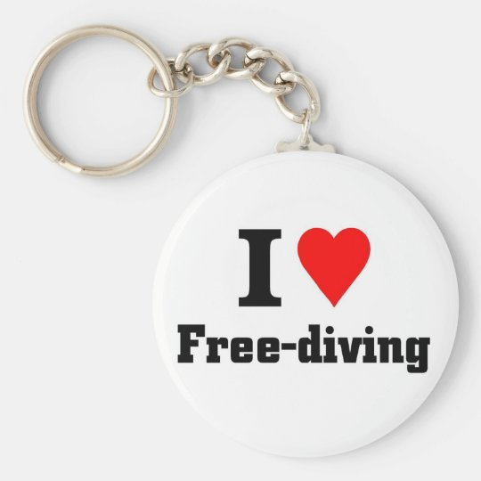 I love free diving basic round button key ring