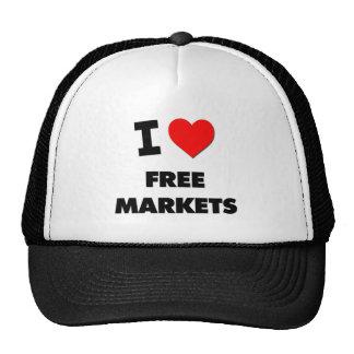 I Love Free Markets Trucker Hats