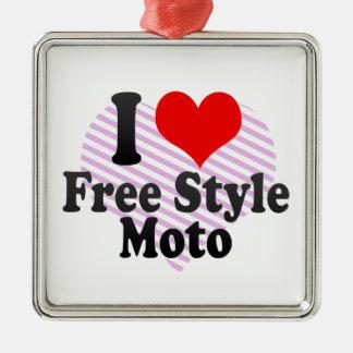 I love Free Style Moto Silver-Colored Square Decoration