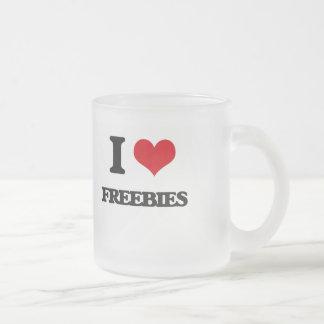 i LOVE fREEBIES Frosted Glass Mug