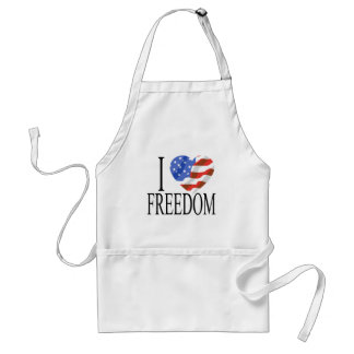 I Love Freedom US Flag Heart American Free Aprons