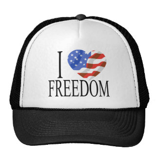 I Love Freedom US Flag Heart American Free Cap