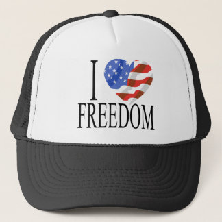 I Love Freedom US Flag Heart American Free Trucker Hat