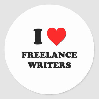 I Love Freelance Writers Round Stickers